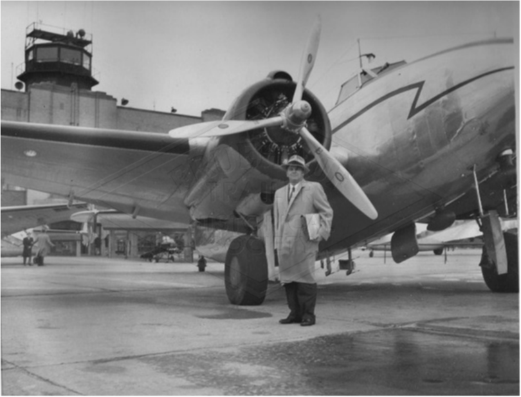 Roy Fruehauf at Willow Run Airport, boarding the Lockheed Lodestar