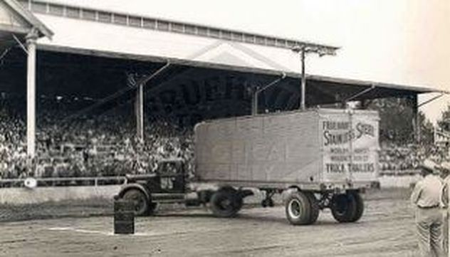 A Fruehauf Trailer exhibited at a rodeo