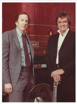 Michael Davis and Johnny Cash at a Fruehauf Promotional event
